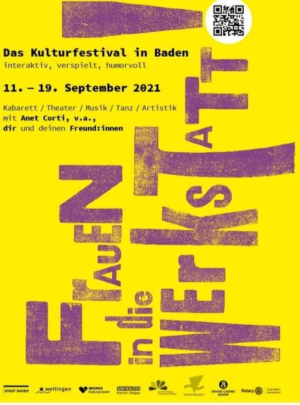 """Wir unterstützen das Festival """"Frauen in die Werkstatt"""", das vom 11.09. bis 19.09.2021 in Baden stattfinden wird."""